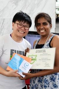 FuelFit Woodlands Komalaa receives her award