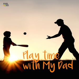 Father & Child playing baseball