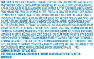 Example Health Bar Ingredient List