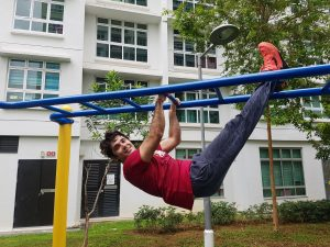 Rohit hanging out on the monkey bar